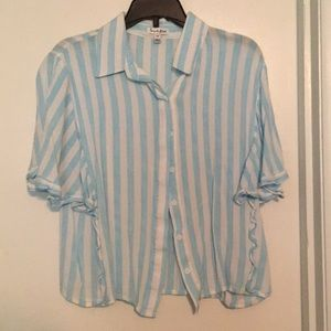 Blue and white striped blouse - small